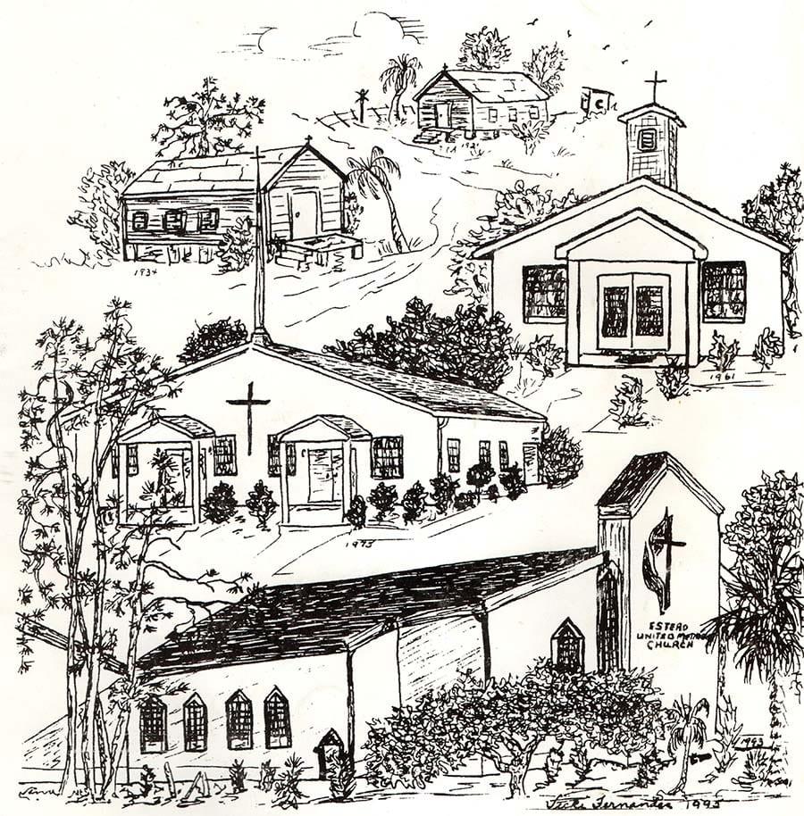 Sketch of the evolution of Estero UMC by Vicki Fernandez, 1995