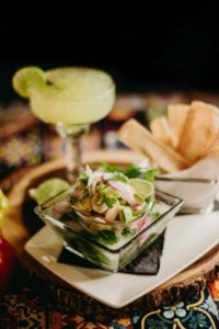 Aguachiles appetizer & Gold Margarita