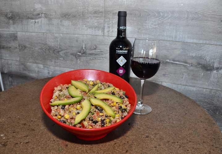 Naples Flatbread Southwest Quinoa Bowl with Primo Scuro Red Wine
