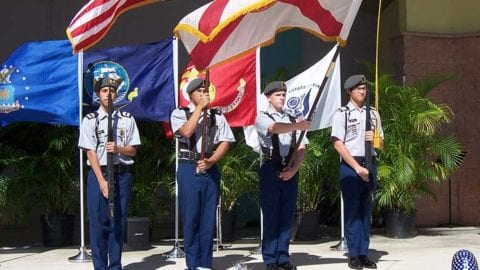 estero high school rotc holds flags