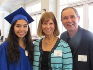 New Horizons graduate Melanie Barrientos with supporters Joan & Fred Bogwill at the annual luncheon