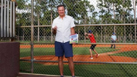 Kevin Gallagher helps young players learn to hit the ball
