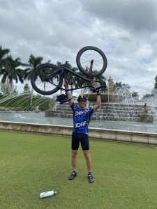 Ted Rudich at Miromar Lakes after completing a 100-mile fundraising ride for diabetes research