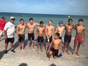 GCST Coach Don Henshaw with his swimmers at the Open Water Championship