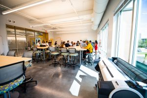 Entrepreneurship students congregate in spaces made for collaboration