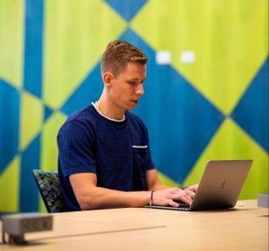 Masters student Jakub Adamowicz at the new School of Entrepreneurship