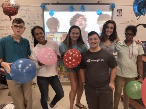 Emma Bullock with Best Buddies Club members at Estero High School